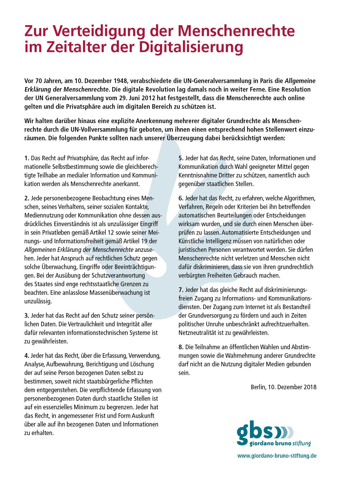 Dokument: Zur Verteidigung der Menschenrechte im Zeitalter der Digitalisierung